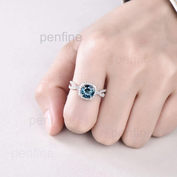 Twisted London Blue Topaz Halo Diamond Engagement Ring - PENFINE