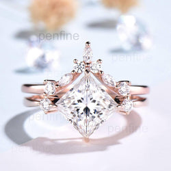 Princess Cut Moissanite wedding set