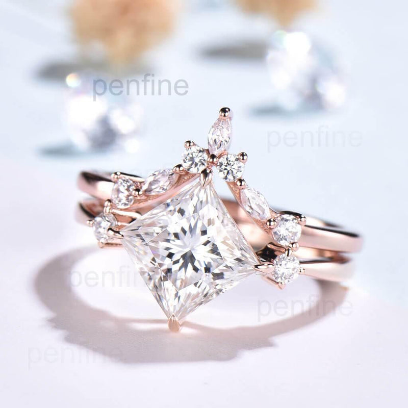 rose gold moissanite engagement ring set