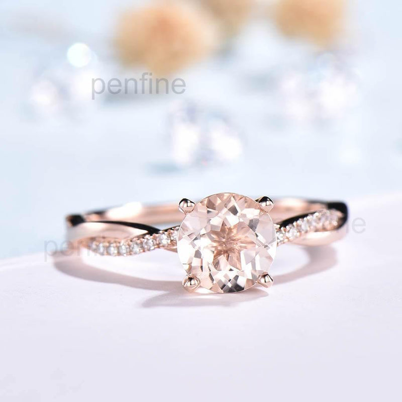 Inifinity Twisted Morganite Diamond Engagement Ring Rose Gold - PENFINE