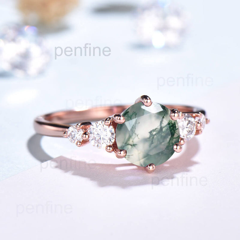 round cut moss agate engagement ring