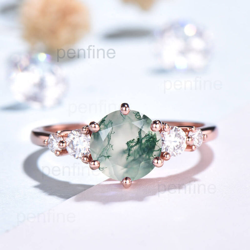 moss agate engagement ring