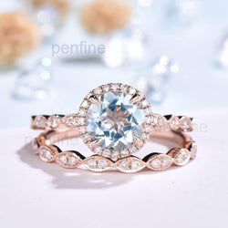 Round Cut Aquamarine Waverly Diamond Halo Engagement Ring Bridal Set 2pcs - PENFINE