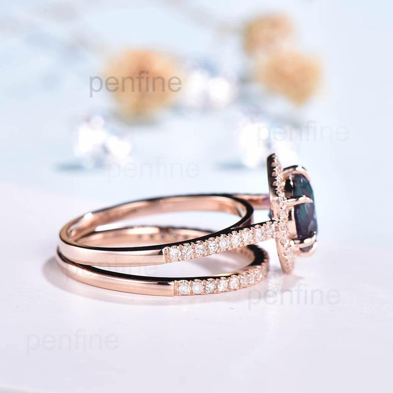 Geometry Alexandrite  Engagement Ring Set Hexagon Halo Diamond 2pcs - PENFINE