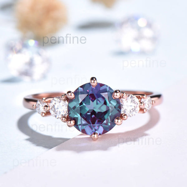 Unique Round Alexandrite Engagement Ring Five Stone Yde01 - PENFINE