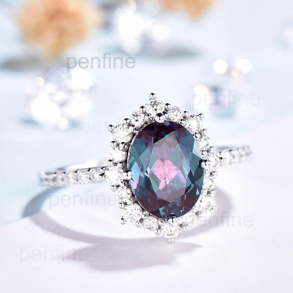 Oval Cut Alexandrite Engagement Ring