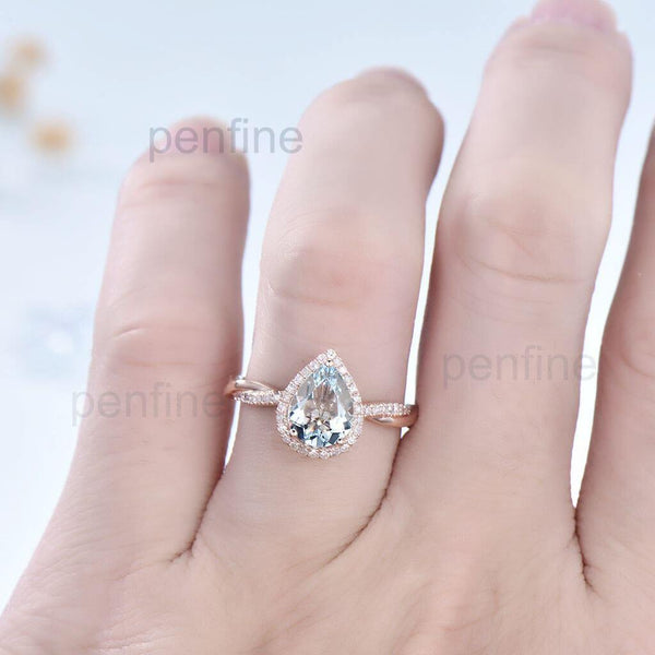 Aquamarine Petite Twisted Vine Diamond Engagement Ring 3/4 Eternity - PENFINE