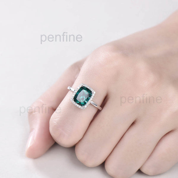 Vienna Diamond Halo Engagement Ring With 7X9 mm Cushion Lab Emerald - PENFINE