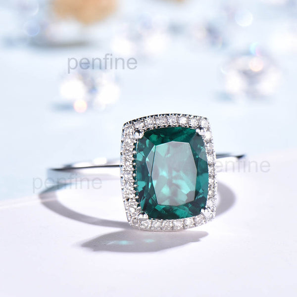 Vienna Diamond Halo Engagement Ring With 7X9 mm Cushion Lab Emerald