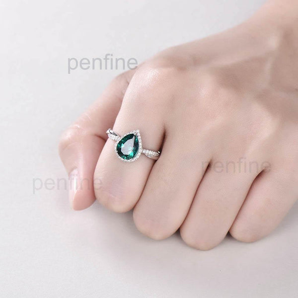 Pear Emerald Petite Twisted Vine Diamond Engagement Ring 3/4 Eternity - PENFINE