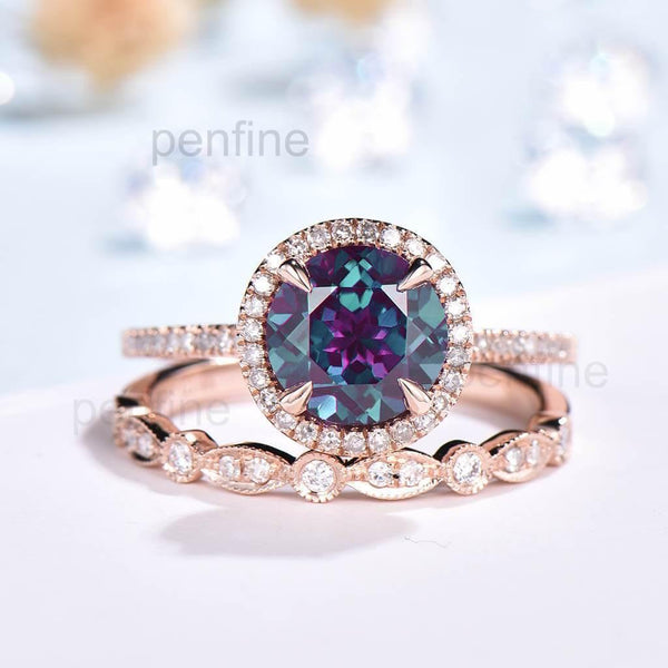 Round Cut Alexandrite Wedding Set