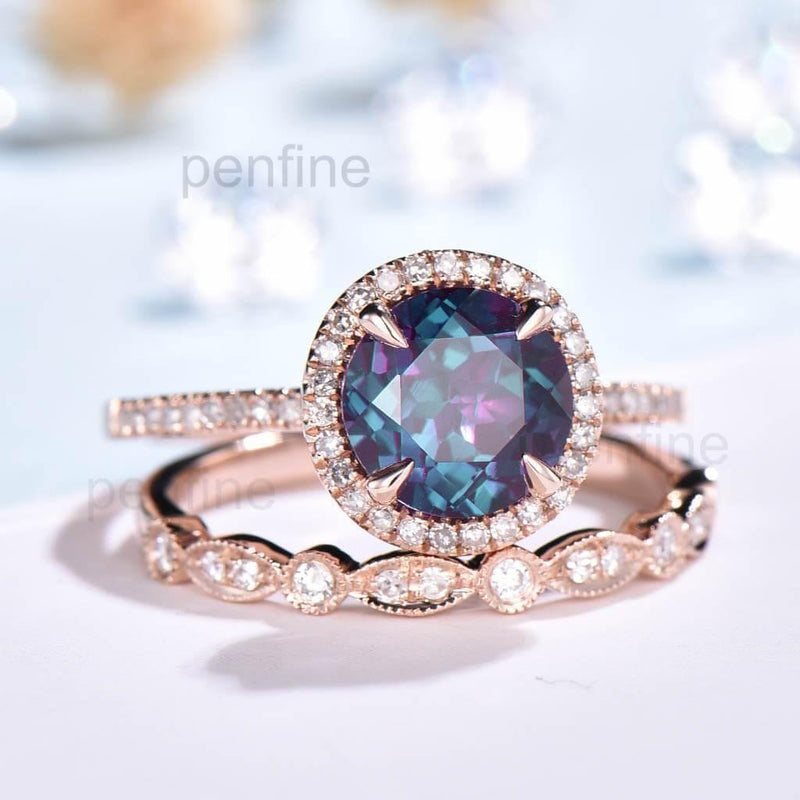 Diamond halo alexandrite engagement ring set