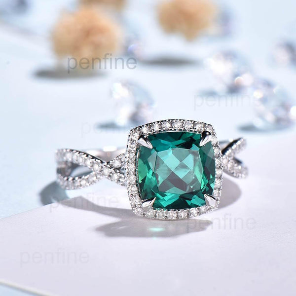 twisted emerald engagement ring