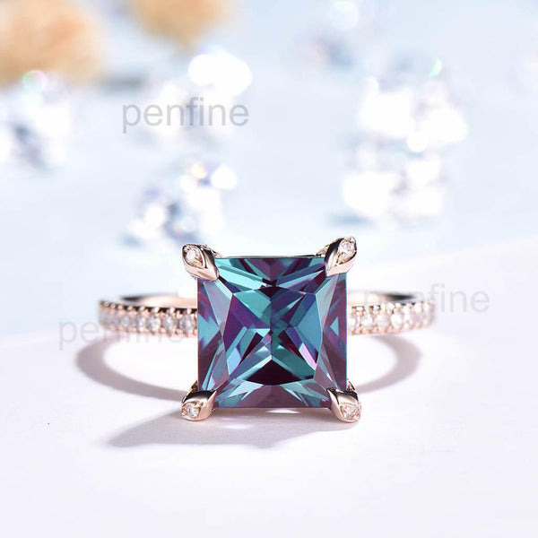 Unique Princess Cut Alexandrite Diamond Engagement Ring Claw Prong - PENFINE