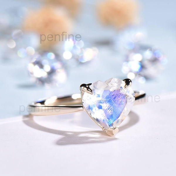 Heart Shaped Rainbow Moonstone Engagement Ring Solitaire - PENFINE