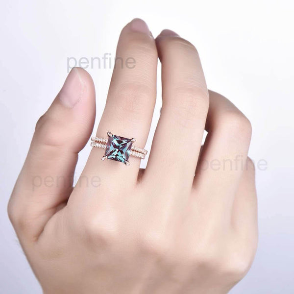 Princess Cut Alexandrite Diamond Engagement Ring Set Claw Prong 2pcs - PENFINE