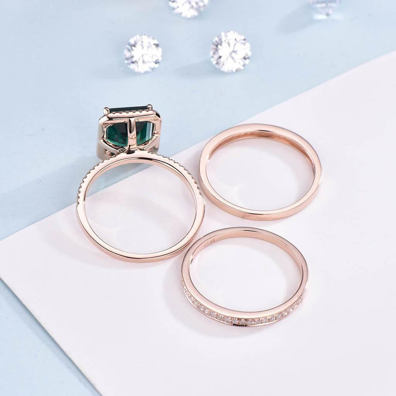 Halo Emerald Cut Emerald Waverly Engagement Ring Set Diamond Band 3pcs - PENFINE