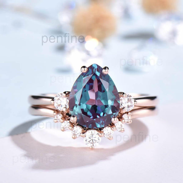 Three Stone Alexandrite Vintage Style Bridal Set Pear Shaped - PENFINE