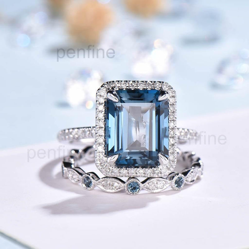 Emerald Cut London Blue Topaz Bridal Set