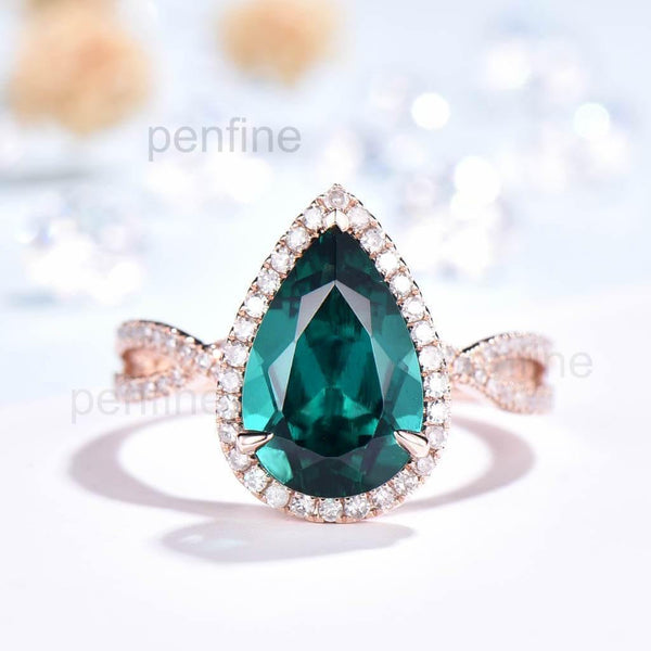 Infinity Pear Emerald Engagement Ring Petite Twisted Vine Halo - PENFINE