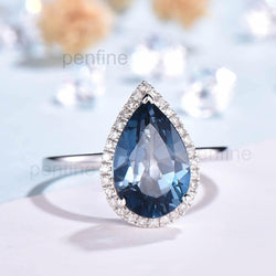 Halo London Blue Topaz Diamond  Engagement Ring Ville 8x12 mm - PENFINE