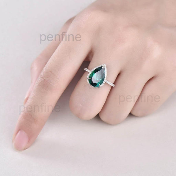 Pear Emerald Diamond Halo Engagement Ring Petite 8x12 mm - PENFINE