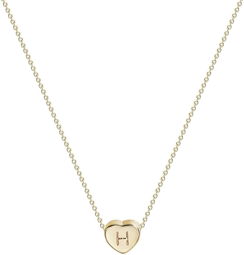 Tiny Gold Initial Heart Necklace-14K Gold Filled Handmade Dainty Personalized Letter Heart Choker Necklace Gift for Women Necklace Jewelry - PENFINE