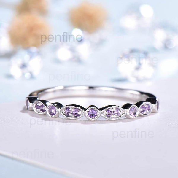 Luxe Tiara Half Eternity Amethyst Wedding Band For Women - PENFINE