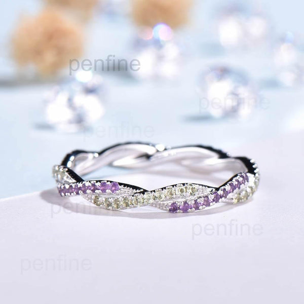 Petite Twisted Vine Infinity Amethyst Peridot Wedding Band Full Eternity - PENFINE