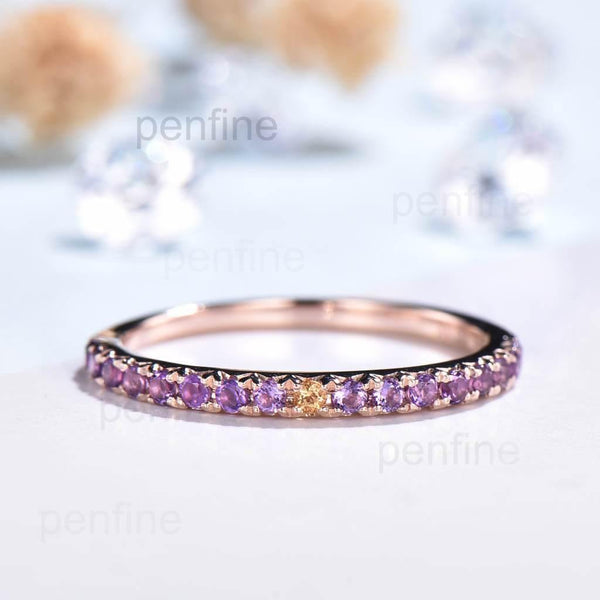 amethyst wedding band