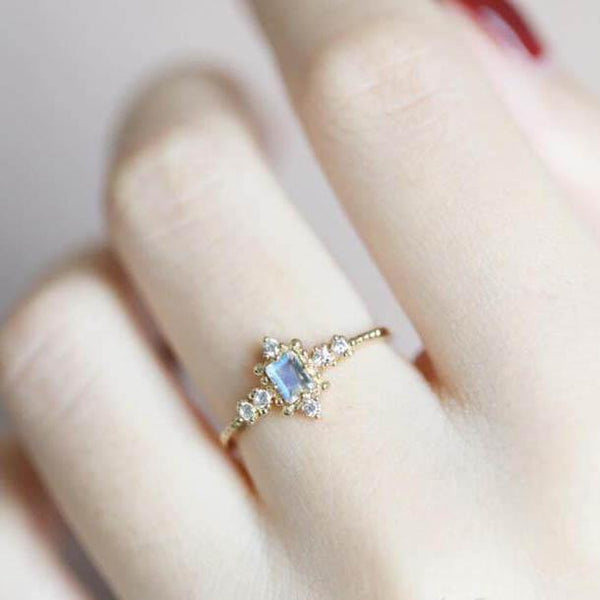Vintage Rainbow Emerald Cut Moonstone Engagement Ring For Sale - PENFINE