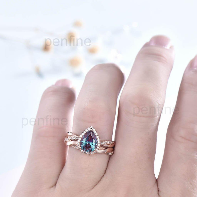 Alexandrite Petite Twisted Vine Diamond Engagement Ring Set 3/4 Eternity-PENFINE-PENFINE