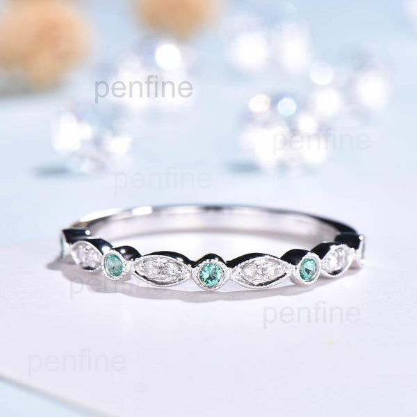 Luxe Tiara Half Eternity Emerald And Diamond Wedding Band - PENFINE