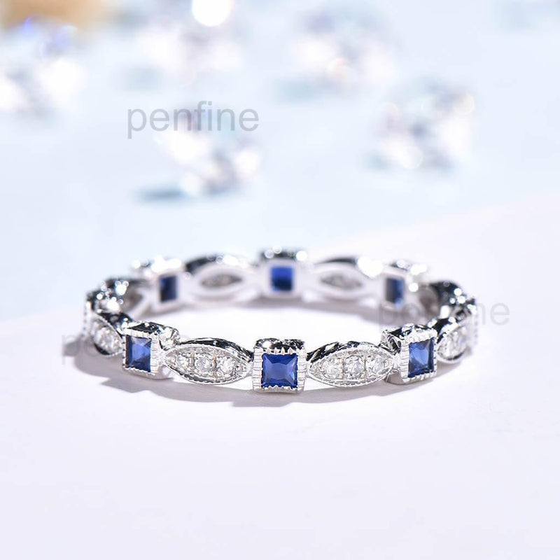 Vintage Princess Sapphire And Diamond Wedding Band - PENFINE