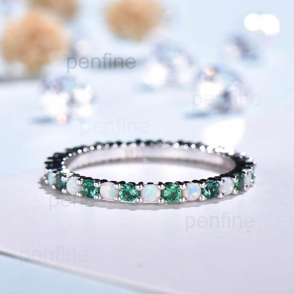 Opal & Emerald Wedding Ring Full Eternity Band Dainty - PENFINE