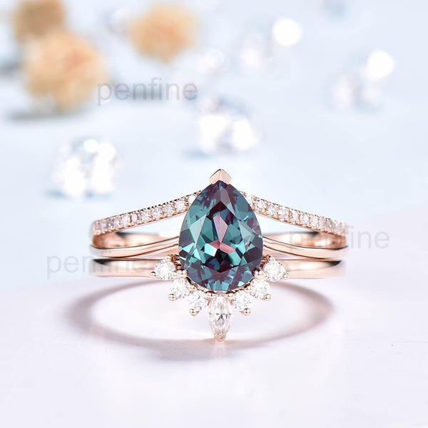 Vintage Alexandrite Diamond Engagement Ring Set Crown Moissanite Band-PENFINE-PENFINE