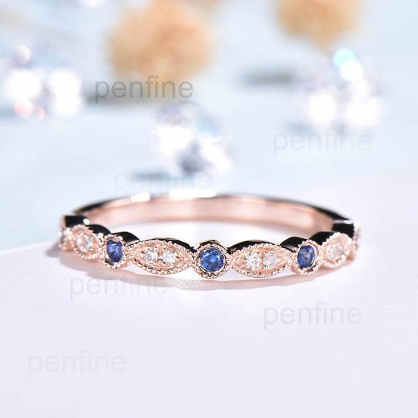 sapphire and diamond weding band