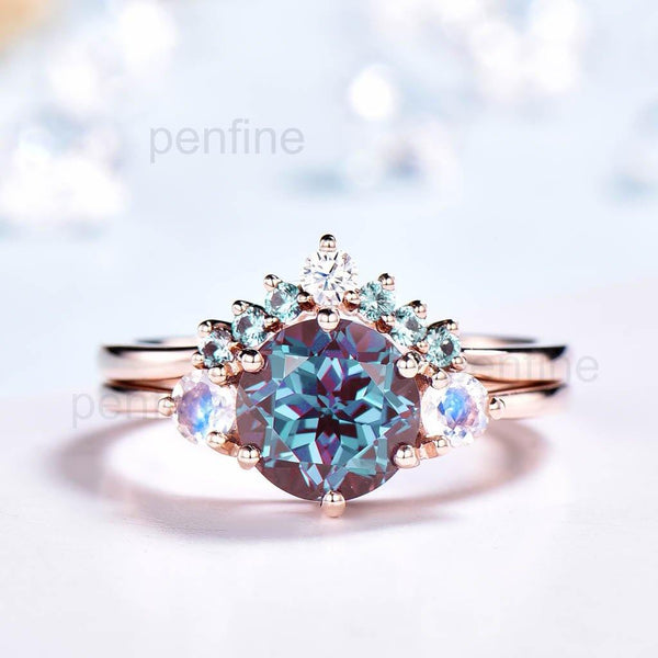 Vintage Three Stone Alexandrite And Moonstone Engagement Ring Set 2pcs-PENFINE-PENFINE