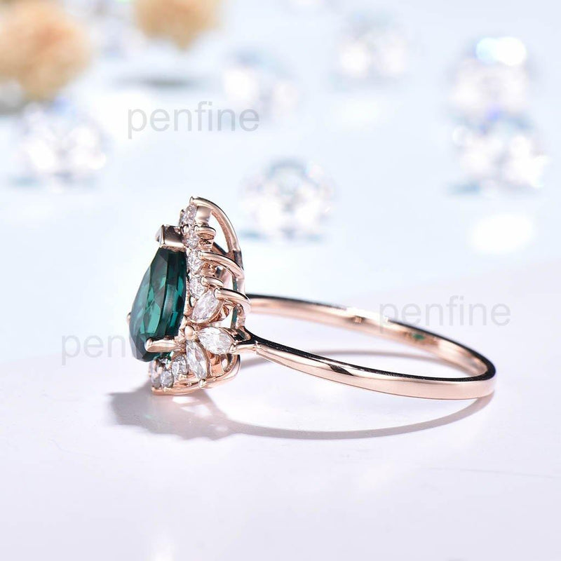 Vintgae Emerald Moissanite Diamond Engagement Ring Personalized Unique Jewelry - PENFINE