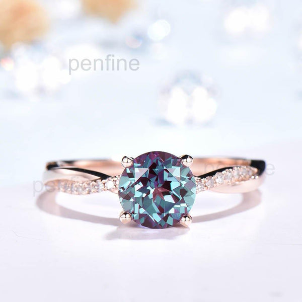 Inifinity Twisted Alexandrite Diamond Engagement Ring Rose Gold - PENFINE