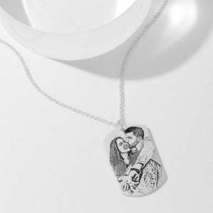 Women's Photo Engraved Tag Necklace With Engraving Silver