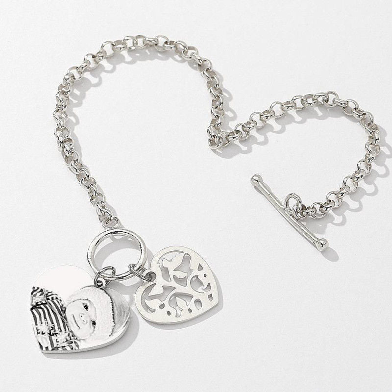 Women's Photo Engraved Heart Tag Bracelet With Engraving Silver