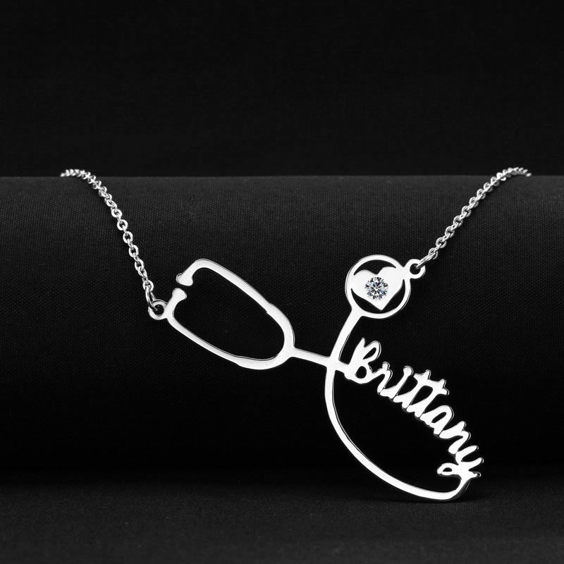 Stainless steel stethoscope name necklace