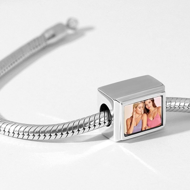 Cuboid Shaped Engraved Photo Charm Silver
