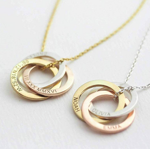 Family Necklace Personalized Gift Linked Circle Necklace Custom Children Name Rings Eternity Necklace Mother Gift