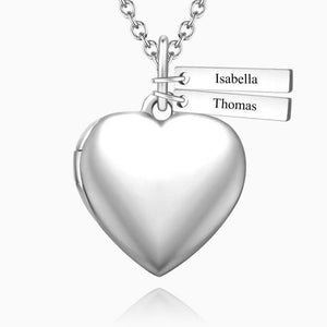 Heart Photo Locket Necklace With Two Engraved Bars Platinum Plated