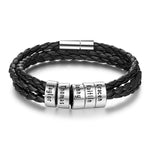 Personalized Black Braided Leather Bracelet