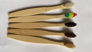 Doll head flat bamboo toothbrush