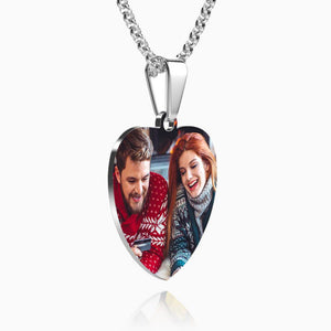 Engraved Heart Tag Photo Necklace Stainless Steel