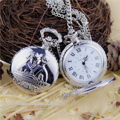 Pocket watch old fashion silver dark gold watch Nostalgia watch